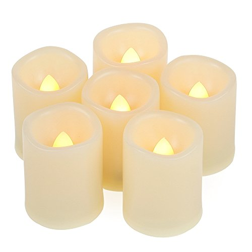 6 PCS Battery Operated Powered Flameless LED Votive Candles with Timer Flickering Fake Electric Tea Lights Set Wedding Party Decorations Home Decor Centerpieces 200+ Hours Long Lasting Batteries Incl.