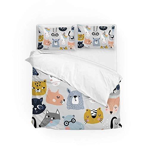 161 Soft Quilt Bedding Set Funny Animals Faces Duvet Cover with 2 Pillowcases Set 3 PCS 200 x 200 CM, Double Size
