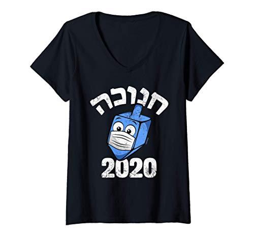 Womens Funny Hanukkah 2020 Dreidel Wearing Face Mask Graphic Hebrew V-Neck T-Shirt