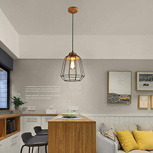 YaoXI hangplafondlamp, woonkamer lamp industrie wind ijzeren kluis kantoor vogelkooi creatief bar restaurant cafe single kop kandelaar
