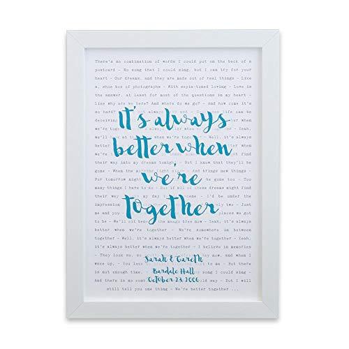 Póster de tipografía con letra de cualquier canción, enmarcado ideal para el día de la madre, día del padre, regalo de boda