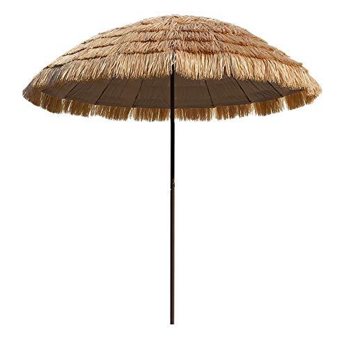 Parasol Imitation Stroh Regenschirm Sonnenschirm, 250 cm Markt Outdoor Tisch Sonnenschirm Sonnenschirm Sonnenschirm Druckknopf Terrassenschirm Sonnenschirm Sonnenschirm LDFZ