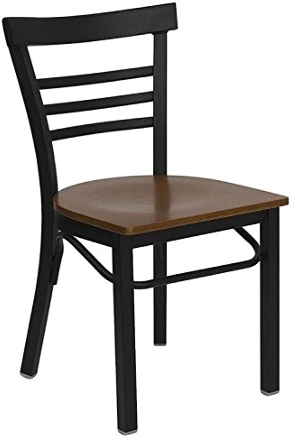 Bowery Hill Black Ladder Back Dining Chair in Cherry