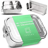 INCLOU® Edelstahl Brotdose Kinder mit Fächern [800ml] - extra auslaufsichere und stabile Lunchbox - nachhaltige Brotdose mit Unterteilung - Brotzeitbox für jeden