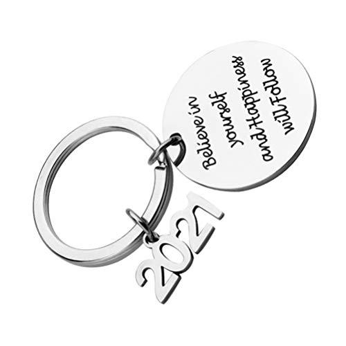 Happyyami Parejas Llavero Inspirador 2021 Encantos Frases Motivacionales Llavero de Acero Inoxidable Regalo Personalizado para Parejas Regalo de Cumpleaños de San Valentín: CREA en Ti Mismo