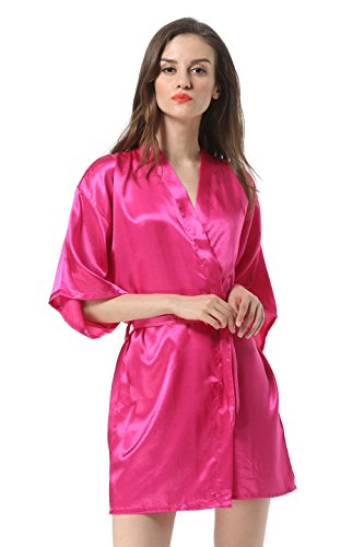 Women's Satin Plain Short Kimono Robe Bathrobe, Large, Hot Pink