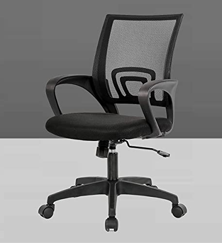 Casa Haus Ergonomic Computer Office Super Soft Desk Chair Adjustable Mid Back with Lumbar Support Armrest Executive Rolling Swivel - Black