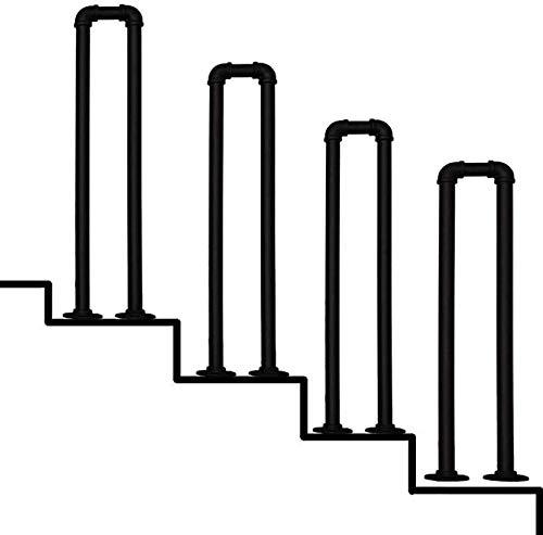 L.BAN Stair U Escaleras al Aire Libre Escaleras Barandilla, Barandilla de Tubo de Hierro Forjado Negro Mate en Forma de U, Barandilla de Escalera de Barra de Soporte de Pasillo de jardín de Villa,