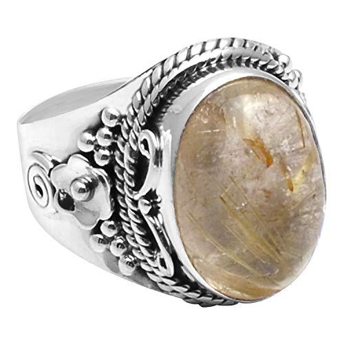 Silver Palace Anillo de plata de ley 925 con rutilo dorado natural para mujeres y niñas