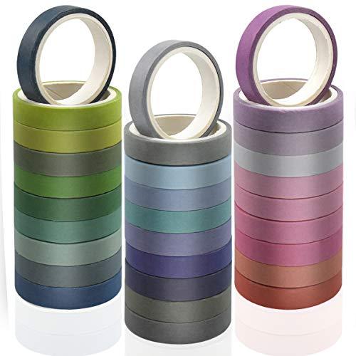 Chstarina 8mm/0.31in Washi Tapes, Cinta Adhesiva Decorativa Cinta Washi Colores Surtido Cinta...