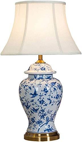 Tafellamp, eenvoudige blauwe algemene bloem en vogel tafellamp woonkamer slaapkamer nachtlampje Hotel model kamer verlichting tafellamp, tafellamp