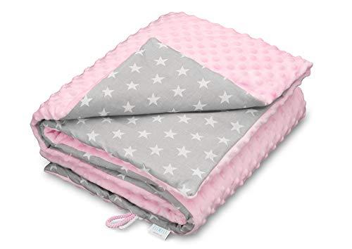 elimeli Minky Baby manta para gatear | Super Suave Minky Dots Forro Polar, algodón, relleno, 75x 100alta calidad rosa Pink - White Stars