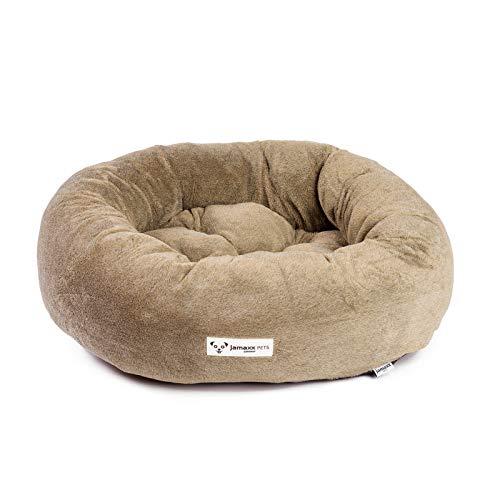 JAMAXX Super-Soft Donut Hundebett Flauschige Weiche Komfort-Polsterung Hundekörbchen Waschbar Hundekorb PDB2083 (60x60 (S) Dark-Sand