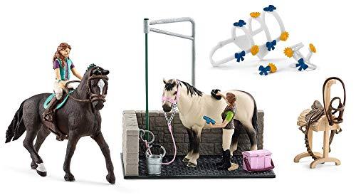 3in1-SET Schleich Pferde Horse Club - Lisa & Storm mit Waschplatz und Schmuck für Pferdeshow 42413 + 42464 + 42104