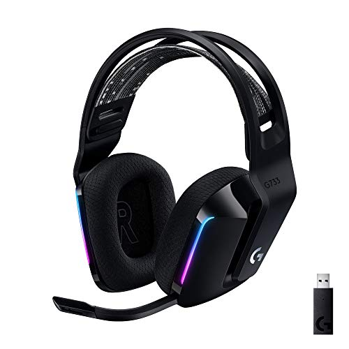 Logitech Casque Gaming sans fil LIGHTSPEED G733 de Logitech avec Bandeau de Suspension, LIGHTSYNC RVB, Technologie de Micro Blue VO!CE et Transducteurs Audio PRO-G- BLACK