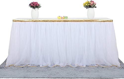 Falda de Mesa Tul Blanco Faldas de Mesa Blanco Faldones de Mesa Tutú para baby shower niña, baby shower, boda, cumpleaños, fiesta de cumpleaños infantil