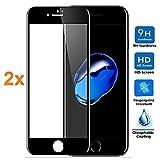 REY 2X Protector de Pantalla 3D para iPhone 7 - iPhone 8, Negro, Protección Completa, 3D / 4D / 5D