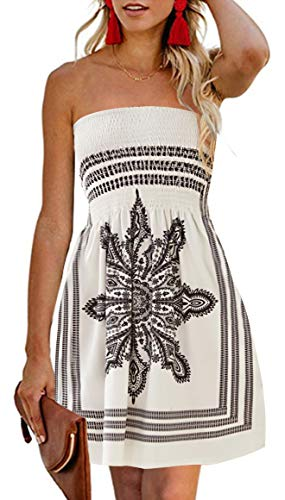CHICGAL Women's Beach Dress Bohemian Strapless Floral Print Cover Up Dresses (White 3XL)