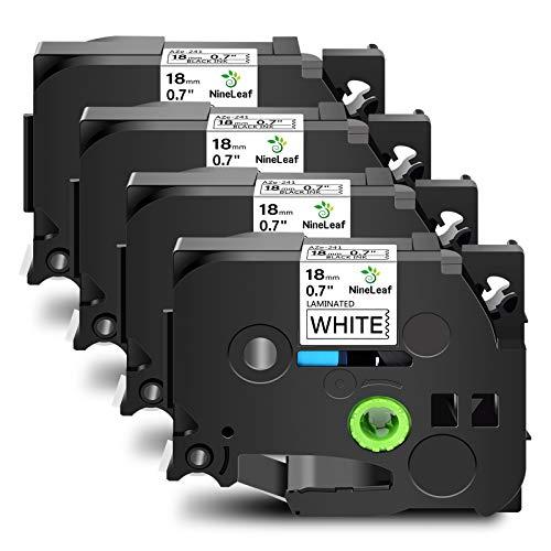 NineLeaf 4 Pack Compatible for Brother P-Touch PTD450 PT-D600 PT-D400 Label Maker Standard Laminated TZ TZe Label Tape TZe241 TZ241 TZe-241 TZ-241 Black on White 18mm (3/4 Inch) x 26.2 ft. (8m)