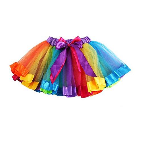 Vovotrade® Filles Enfants Girls Kids Petticoat Rainbow Pettiskirt Bowknot Jupe Tutu Robe Dancewear Skirt Dress (Multicolor, S)