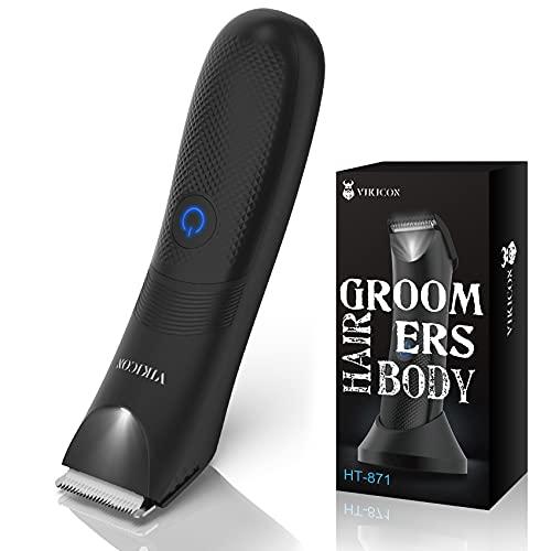 VIKICON Elektrischer Balls Trimmer, Intimrasierer für Männer, Wasserdichte Nasse/Trockene Eier und Body Groomer, Hoden-Rasierer mit LED-Beleuchtung, Haarschneidemaschine Profi