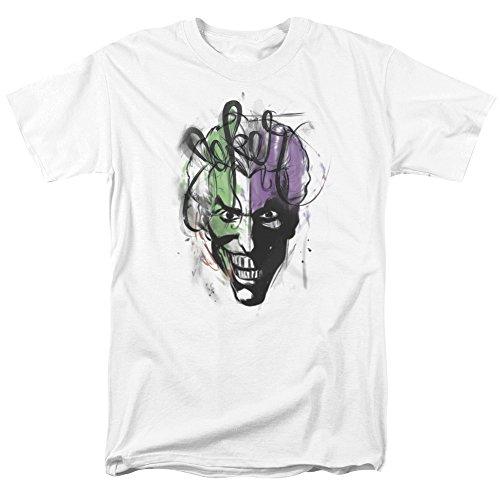 Batman - Joker Airbrush Erwachsene T-Shirt in Weiß, X-Large, White