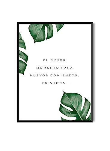 MILUKA Poster da Incorniciare per Decorazione de Parete in Quadri | Poster con Frasi Motivazione MESSAGGI | Comienzos | Varie Dimensioni (20 x 30 cm)