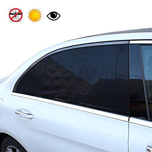 YOCZOX 2 PCS Sonnenschutz, universelle Sonnenblende, Fenstersocke, Seitenscheibensabdeckung, einfache Anbringung an den Seitenfenster, passgenau meiste Autos für Kinder, Hund etc. Schwarz, 110 x 50cm
