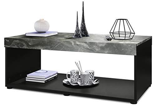 Vladon Couchtisch Wohnzimmertisch Pure mit Zwei großen Ablageflächen, Korpus in Schwarz matt/Tischplatte und Blenden in Marmor Graphit | Große Farbauswahl