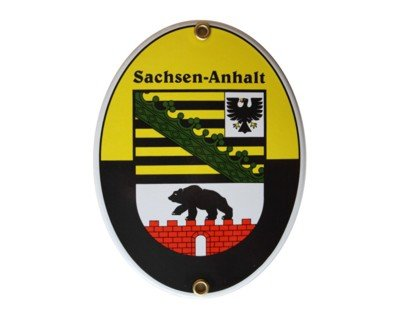 Sachsen-Anhalt Emaille Schild Sachsen-Anhalt 11,5 x 15 cm Emailschild Oval.