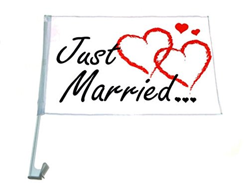 4 x Autofahnen Autofahne Just Married 46 x 30 cm Hochzeit Love Auto Fahne