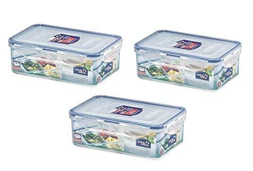 LOCK & LOCK Frischhaltedosen aus Kunststoff – 3er Vorratsdosenset – eckig – Lunchbox mit Trennfach – 1,4 l