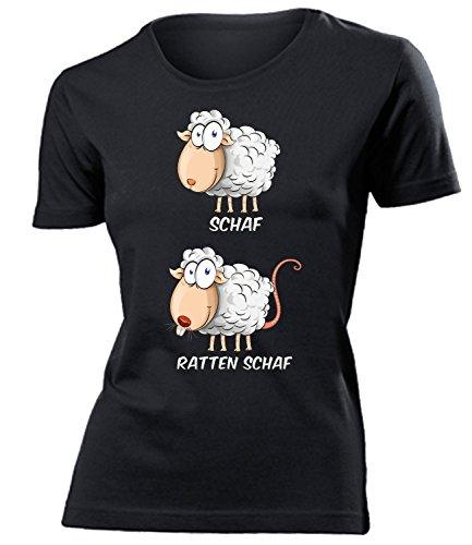 Schaf Ratten Schaf Wortspiel zweideutig Damen Frauen t Shirt Tshirt t-Shirt Geburtstag witzig Geschenke Lustig mit Spruch Fun Geschenkidee kostüm Fasching Karneval Bekleidung Oberteil Hemd Kleidung
