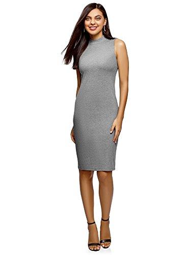 oodji Ultra Mujer Vestido Texturizado con Cuello Mao, Gris, ES 42   L