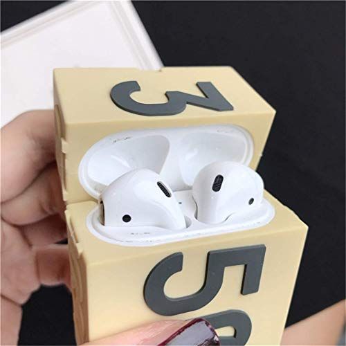 Joyleop(Yellow Shoebox) Compatible with Airpods 1/ 2 Case Cover,3D Cute Luxury Funny Fun, Silicone Airpod Stylish Chic Character Keychain Skin,Girls Boys Teens Men,Cases for Air pods 1& 2