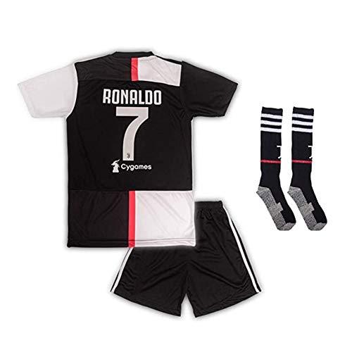 Shirts Kinder Fußball Trikot T-Shirt Bedruckbar - Wunschname & Nummer Rundhals Tshirt Für Mädchen & Jungen Ronaldo Cygames #7,Schwarz,140