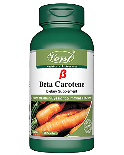 Vorst Beta-Carotene 1.5 mg (5000 IU) Vitamin A 90 Capsules, Healthy Eyes, Skin & Immune System Potent Antioxidant, Vision Health