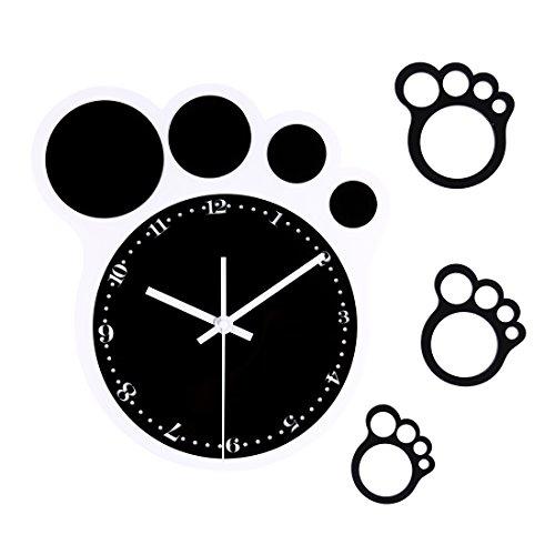 Foxom Reloj De Pared Moderno, Creativo Huella de Pie de Diseño Moderno Reloj de Pared Nivel de los según los acrílico Pared Reloj Relojes sin tickge räusche