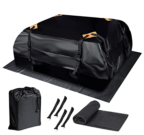 Zone Tech Car Roof Cargo Bag Water Resistant with a Protective Anti Slip Mat – 8 Reinforced...