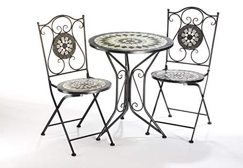Kobolo Sitzgruppe Gartenmöbel MOSAIK - 1 Tisch - 2 Stühle - Metall - Mosaik grau