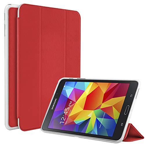 N NEWTOP Funda compatible para Samsung Galaxy Tab 4 de 7 pulgadas T230 T231 T235, funda Flip Smart Libro TPU Back Front Ultra Delgada Ligera Stand Función Wake/Sleep Simil Piel (Rojo)