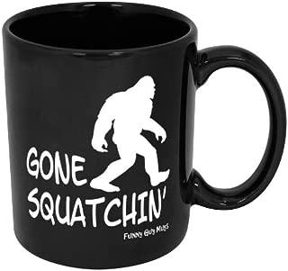 Funny Guy Mugs Gone Squatchin' Ceramic Coffee Mug, Black, 11-Ounce
