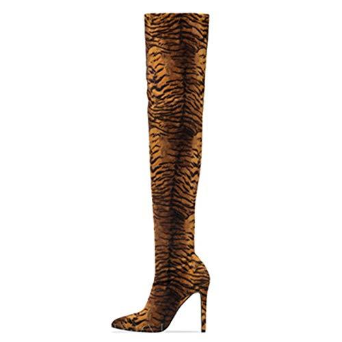 YHZQ Botas Altas del Muslo Mujer, sobre Botas Altas Rodilla De Leopardo, Botas Montar Invierno Señoras, Botas De Estilete Puntiagudo Estiramiento, Tamaño Grande (35-43EU) black-EU36