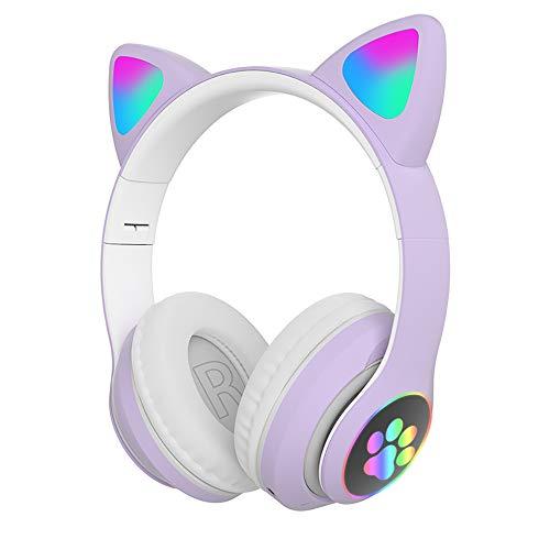 Rgb Cat Ear Headset Bluetooth 5.0 Heavy Bass Reducción de ruido Auriculares inalámbricos deportivos montados en la cabeza, adecuado para chat de voz, ver películas, correr