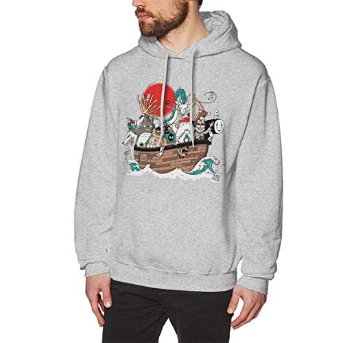 Ljkhas2329 New Ark's Miyazaki Men's Long Sleeved Gray Pullover Sweatshirts Hoodies (No Pocket) XXL