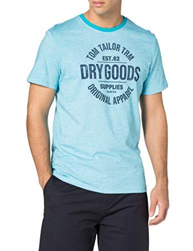 Tom Tailor 1025985 Print Camiseta, 26720 Teal Fine Stripe - Juego de...