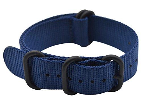 Artstyle Reloj Banda Correa de Nailon con y Grueso y Negro Hebilla de Gama Alta (Acabado Mate), Color Azul