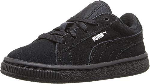 PUMA Suede JR Sneaker Black Silver, 4.5 M US Big Kid