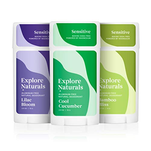 Explore Naturals Deodorant 3-Pack - Cool Cucumber, Lilac Bloom, Bamboo Bliss - Baking Soda Free - Natural Deodorant for Women and Men - Cruelty free, Aluminum Free, Free of Parabens and Sulfates