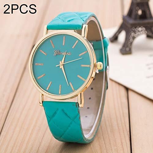 Fashion horloges Dfch 2 PCS Casual Simple Sofa lederen Quartz Koppel Watch (Rood) (Color : Green)